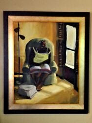"""Painting – """"woman Sitting By Window"""" Original Art, Oil On Canvas By Arturo, Fram"""