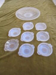 1930 French Art Opalescent Glass Fruit Bowl And 8 Cups Etling Bubble