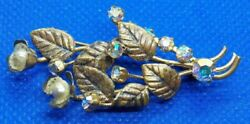 Vintage Brass Leaves with Pearl & Rhinestone Flowers Pin Brooch made in Austria