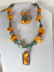 Yellow Bamboo Coral And Turquoise Necklace 20 With Matching Earrings