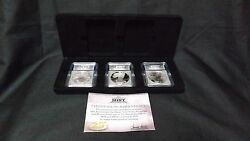 2006 Silver Eagle 3 Coin Set Icg 70 Proof Reverse Proof Bu 20th Anniversary
