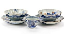 Antique Chinese Blue And White Porcelain Bowls Dishes Set