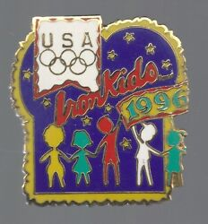 1996 Iron Kids Bread Atlanta Olympic Pin USA USOC Rings Holding Hands