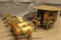 35 Chinese Bronze Gild Four Horse Pull Emperor Statue
