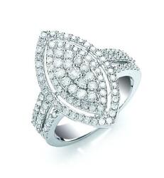 18ct White Gold 1.00ct H/si Cluster Diamond Ring