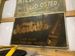 Vintage Large Nesbittand039s Orange Soda Sign Gas Oil Soda Cola