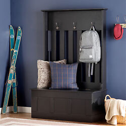Black Hall Tree Storage Bench Home Entryway Living Room Furniture Decor Hooks