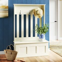 White Hall Tree Storage Bench Home Entryway Living Room Furniture Decor Hooks
