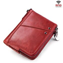 Short Wallet Genuine Leather Organizer Double Zipper Coin Bags Card Purse