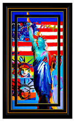 PETER MAX Original signed PAINTING on CANVAS Full LIBERTY HEAD Flag with Heart
