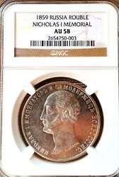 Russia One Rouble 1859 Nicholas I Ngc Au-58 Rare Coin Monument Rare One Time