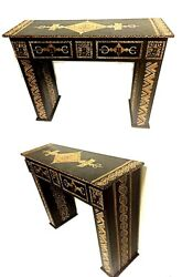 Moroccan Handpainted Wood Console Hall Table Arabesque Furniture Drawer Black