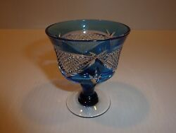 Elegant Bohemian Small Stem Glass Blue with Clear Raised Diamond