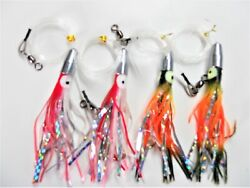5 Rigged Bullet Jet Head Mylar 4 Pieces Trolling Fishing Lures Squid Rigs