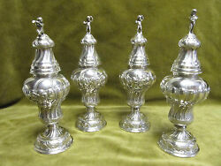 19th C Rare Gorgeous German 800 Silver 4 Sugar Shakers Musicians Rococo St