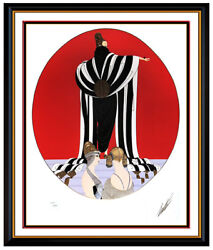 Erte Monaco Original Embossed Serigraph Large Hand Signed Art Deco Costume Dress