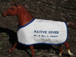 NATIVE DIVER embroidered blanket Breyer thoroughbred race horse