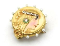 Antique Alling And Co Art Nouveau 14k Enameled Lady Diamond Pearls Pin Brooch