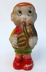 Scrappy W/ Horn 3.75 Tall 1930and039s Japanese Bisque Figure Charles Mintz Studios