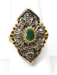 Amazing Antique Emerald Ring 14k White And Yellow Gold With Raw Diamonds Size 8.25