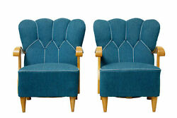 PAIR OF SCANDINAVIAN 1950's SHELL BACK ARMCHAIRS