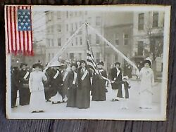 Antique Real Photograph Wctu Suffrage Photo W/attached 13 Star American Flag