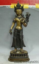 23 Tibet Buddhism Temple Old Pure Bronze Stand Lotus Flower Hand Kwan-yin