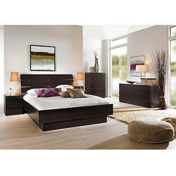 Brown 4 Piece Queen Bed Furniture Set Dorm Bedroom Home Living Decor Dresser Apt