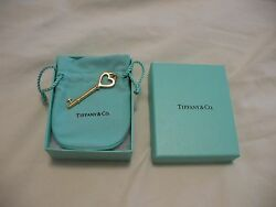 And Co. 18k Large Gold Heart Key Pendant - Nib Perfect 100 Authentic