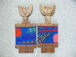 Original Carved Wood And Woven Sculpture By Monica Setziol Phillips King And Queen