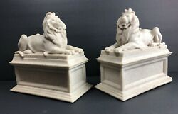 New York Public Library Lions Bookends By Edward Clark Potter Chipped