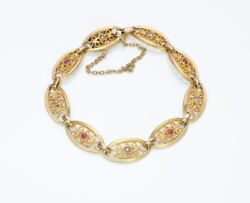 Antique French Ruby Pearl 18k Yellow Gold Filigree Bracelet