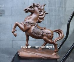 33 Cm Pure Red Copper High Quality Chinese Zodiac Fengshui Animal Horse Statue