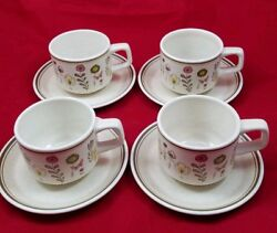 Set Of 4 Lenox Temper Ware Sprite Coffee Tea Cups And Saucers