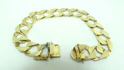 14k Yellow Gold 7.2mm Heavy Squared Curb Link Chain Bracelet 7.75 35.3g D7789