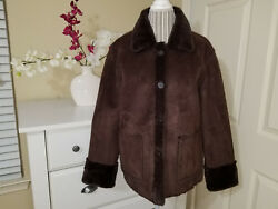 Brandon Thomas Sensual Chocolate Reversible Faux Mink Fur & Suede Jacket Sz. L