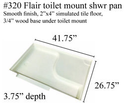 Fleetwood Rv Shower Pan With Toilet Mount Fiberglass 320 Colonial White 42x27
