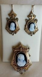 Antique Victorian Pin And Earrings Set, Hard Stone Cameos In 14 K Yellow Gold