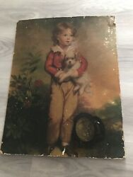 Girl With Dog English Print Canvas Oil Antique 1900's Generation Era
