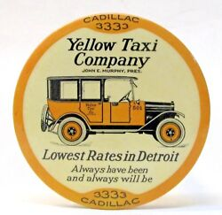 1920's Yellow Taxi Cab Company Detroit Advertising Paperweight Pocket Mirror