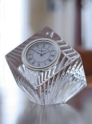 Waterford Crystal Meridian Large Centerpiece Crystal Clear Clock Brand New