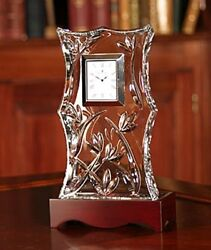 Waterford Crystal Bamboo Large Centerpiece Crystal Clear Clock Brand New