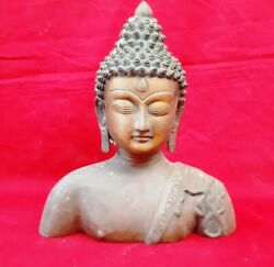 Brass Antique Buddha Head Mask Statue Buddhism Bust Thai Medicine Figurine Decor