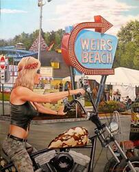 Laconia Motorcycle Rally Lady On Harley Davidson Original Oil Painting By John G