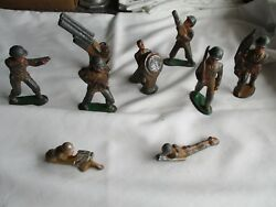 Vintage 9 Piece Barclay Manoil Lead Military Soldiers W/ Flag Marked Usa 's