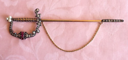 Antique Victorian Jabot Pin, Sword With Diamonds And Rubies In 14 K Yellow Gold