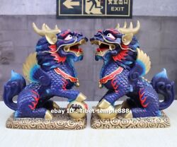 27 Cm China Pure Brass Painted Foo Dog Lion Dragon Kylin Fengshui Animal Statue