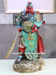 48 Cm Chinese Pure Brass Painted Dragon Guan Gong Guan Yu Soldier Warrior Statue