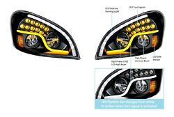 Pair Led Blackout Headlights W/ Dual Led Drl And Turn For Freightliner Cascadia