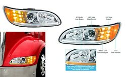 Pair Of Chrome Projection Headlights With Led Drl And Turn Signals For Peterbilt